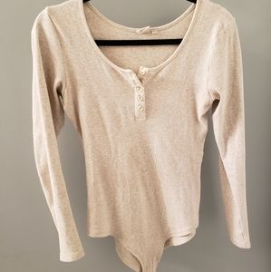 Oatmeal ribbed Henley style body suit - so…